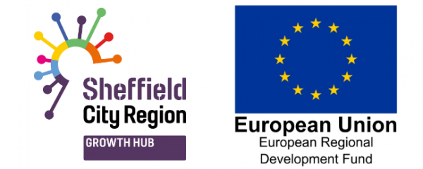Sheffield City Region Growth Hub logo next to flag of the European Union