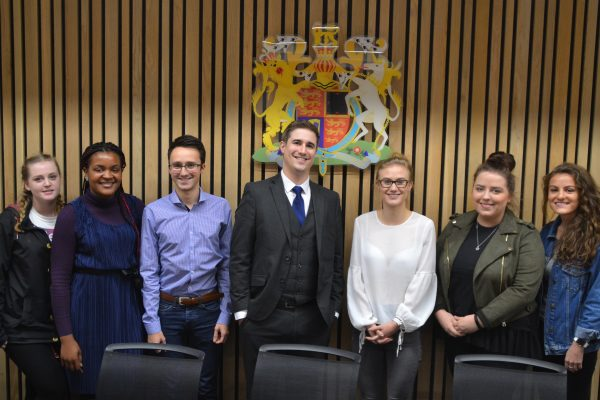 Sheffield Hallam Law School students pose for a photo in court